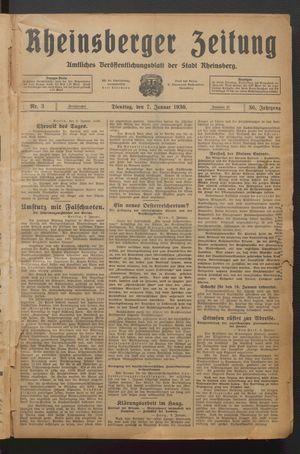 Rheinsberger Zeitung vom 07.01.1930