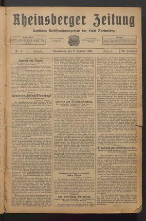 Rheinsberger Zeitung vom 09.01.1930