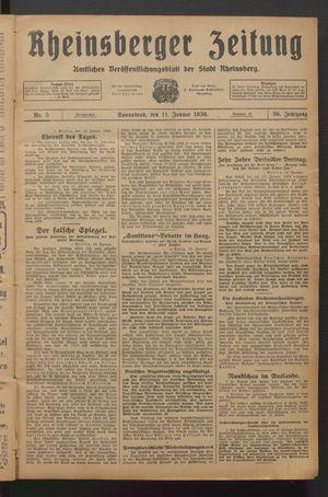 Rheinsberger Zeitung vom 11.01.1930