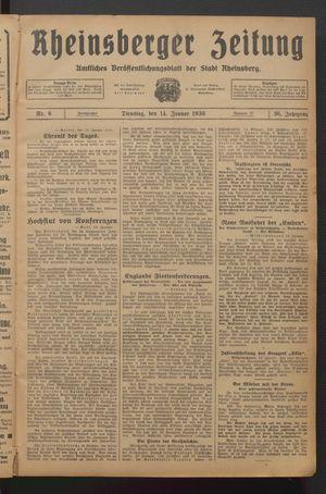 Rheinsberger Zeitung vom 14.01.1930