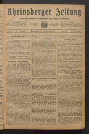 Rheinsberger Zeitung vom 16.01.1930