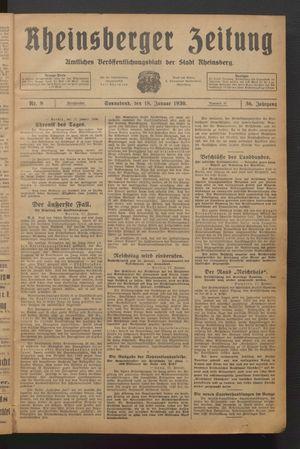 Rheinsberger Zeitung vom 18.01.1930