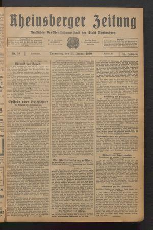 Rheinsberger Zeitung vom 23.01.1930