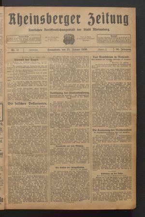 Rheinsberger Zeitung vom 25.01.1930
