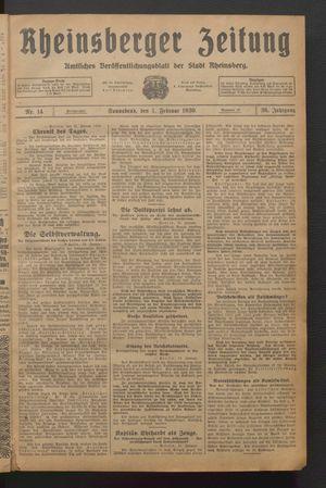 Rheinsberger Zeitung vom 01.02.1930