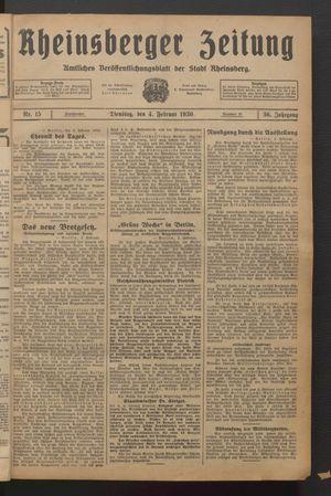Rheinsberger Zeitung vom 04.02.1930