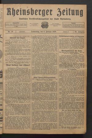 Rheinsberger Zeitung vom 06.02.1930