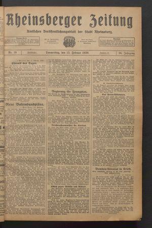 Rheinsberger Zeitung vom 13.02.1930