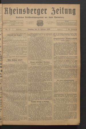 Rheinsberger Zeitung vom 18.02.1930