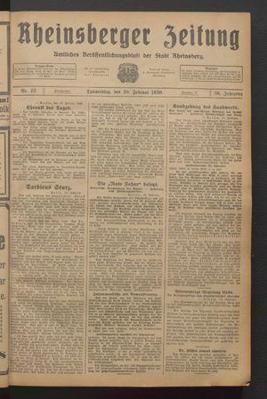 Rheinsberger Zeitung vom 20.02.1930