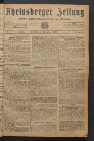 Rheinsberger Zeitung vom 22.02.1930