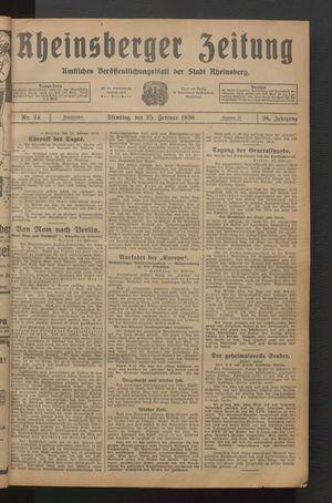 Rheinsberger Zeitung vom 25.02.1930