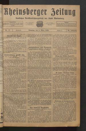 Rheinsberger Zeitung vom 04.03.1930