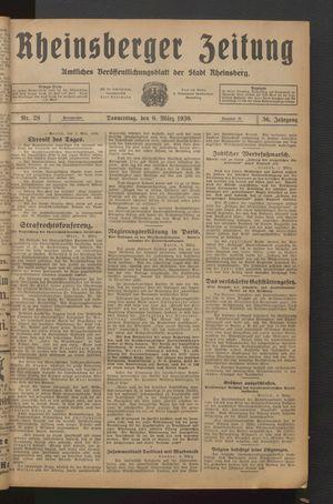 Rheinsberger Zeitung vom 06.03.1930