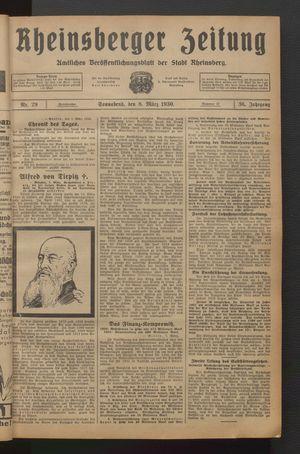 Rheinsberger Zeitung vom 08.03.1930