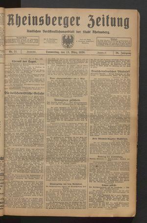 Rheinsberger Zeitung vom 13.03.1930