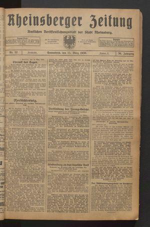 Rheinsberger Zeitung vom 15.03.1930