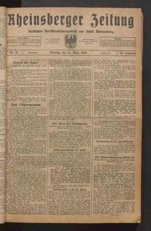 Rheinsberger Zeitung vom 25.03.1930