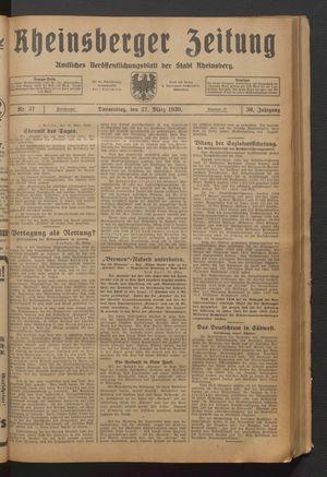 Rheinsberger Zeitung vom 27.03.1930