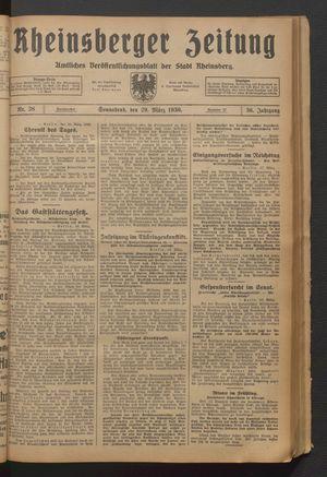 Rheinsberger Zeitung vom 29.03.1930