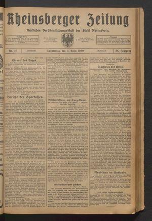 Rheinsberger Zeitung vom 03.04.1930