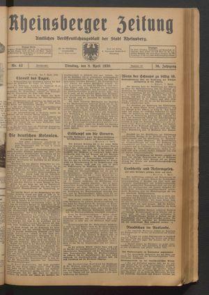 Rheinsberger Zeitung vom 08.04.1930