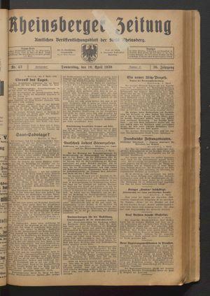 Rheinsberger Zeitung vom 10.04.1930