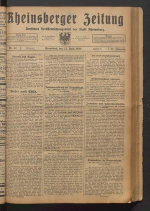 Rheinsberger Zeitung vom 12.04.1930