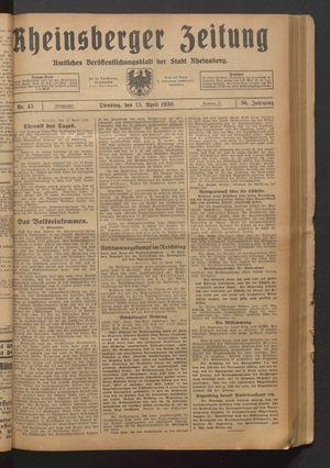 Rheinsberger Zeitung on Apr 15, 1930