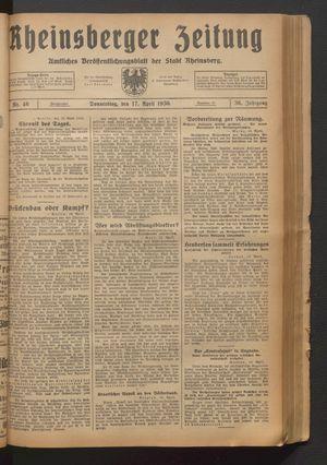 Rheinsberger Zeitung vom 17.04.1930