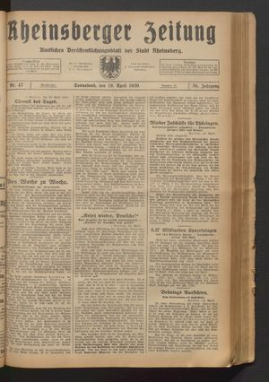 Rheinsberger Zeitung vom 19.04.1930