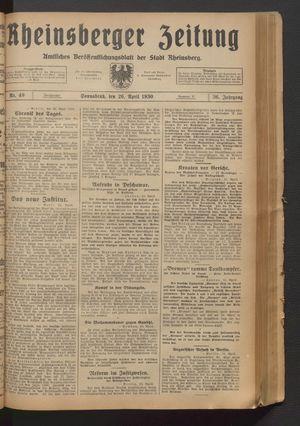 Rheinsberger Zeitung vom 26.04.1930
