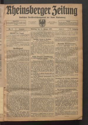 Rheinsberger Zeitung vom 13.01.1931