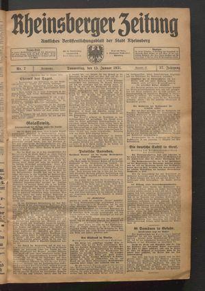 Rheinsberger Zeitung vom 15.01.1931