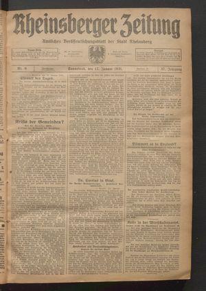 Rheinsberger Zeitung vom 17.01.1931