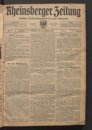 Rheinsberger Zeitung vom 20.01.1931