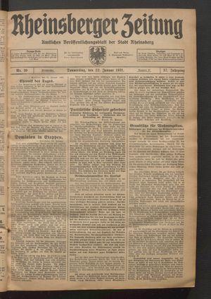Rheinsberger Zeitung vom 22.01.1931