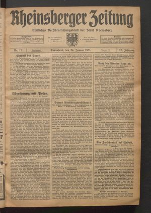 Rheinsberger Zeitung vom 24.01.1931