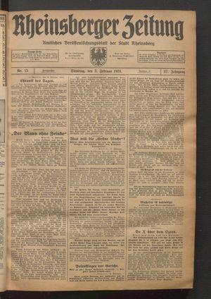 Rheinsberger Zeitung vom 03.02.1931