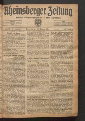 Rheinsberger Zeitung vom 12.02.1931
