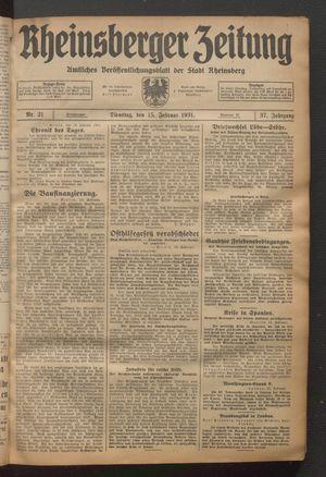 Rheinsberger Zeitung vom 15.02.1931