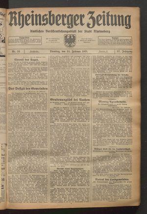 Rheinsberger Zeitung vom 24.02.1931