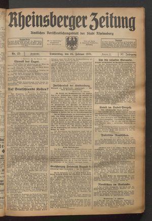 Rheinsberger Zeitung on Feb 26, 1931