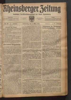 Rheinsberger Zeitung vom 05.03.1931