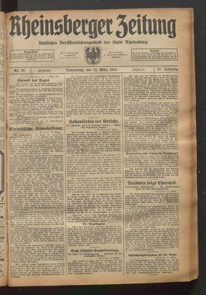 Rheinsberger Zeitung vom 12.03.1931