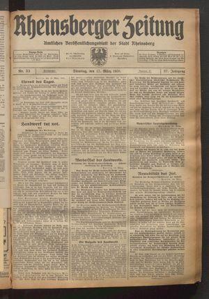 Rheinsberger Zeitung vom 17.03.1931