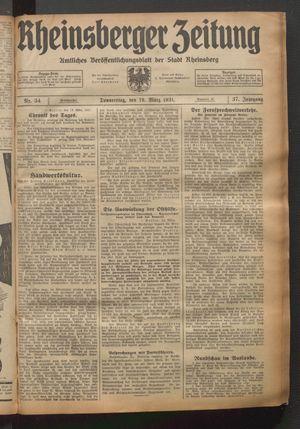 Rheinsberger Zeitung vom 19.03.1931