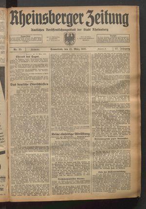 Rheinsberger Zeitung vom 21.03.1931