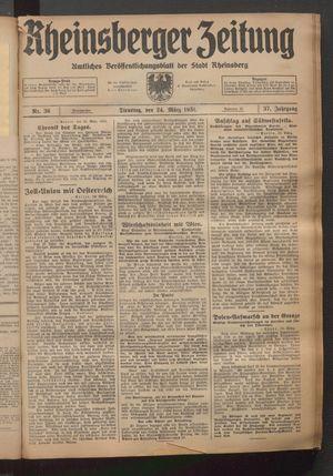 Rheinsberger Zeitung vom 24.03.1931