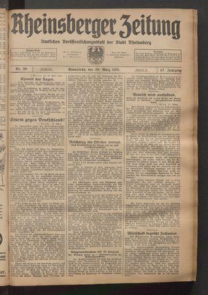 Rheinsberger Zeitung vom 28.03.1931